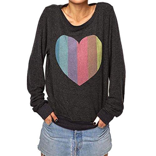 Bekleidung Longra Damen Fashion bunte Herzen Liebe Print Langarm lose Hemd Bluse...