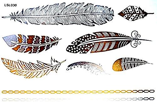 Lsl030 - (modello 54) - tattoo finto per il corpo - braccia - caviglie - polso - gamba - coscia - spalla - schiena - piume di pavone - uccelli - donna