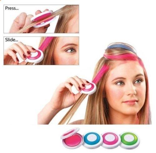 Haarkreide, 4Stück, temporäre Farbe, ungiftig, für Haarsträhnen, Kreide, blau, rosa, grün,...