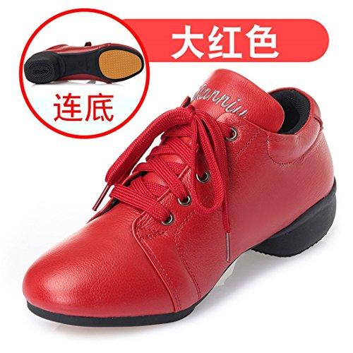 Wxmddn Ladies'scarpe balletti scarpe danza scarpe tango ginnastica danza jazz scarpe danza allenatori scarpe pratica performance Dance scarpe per ragazze donne Grande rosso
