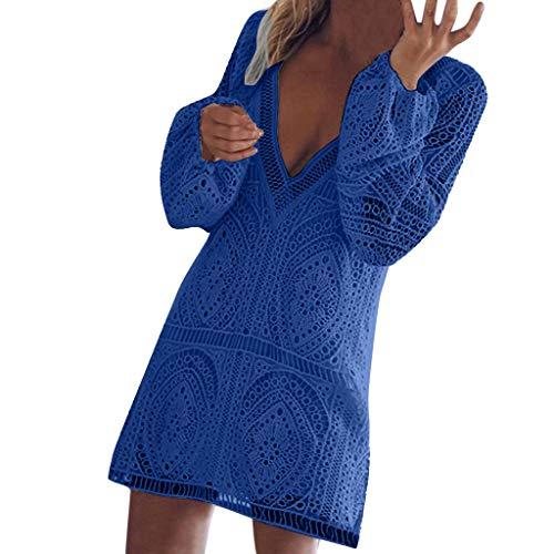 SoonerQuicker Kleider Damen Knielang Festlich Frauen Lose Freizeit V Ausschnitt Langarm Slim Beach Short RüCkenfreies Spitzenkleid blau XXL (Spitzenkleid Rückenfreies)