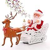 Decorazioni Natalizie per Bambini con slitte trainate da alci per Bambole di Babbo Natale Giocattoli elettrici per carrelli di tiro per alci Domestici