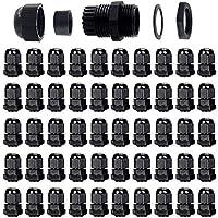 ARTGEAR 50 piezas Impermeable Conectores de Cable, PG7 Glándulas de Cable con Ajustables Juntas, Prueba de Agua de 3-6.5mm Plastico Gland Conectores, M12 x 1.5 (Negro)