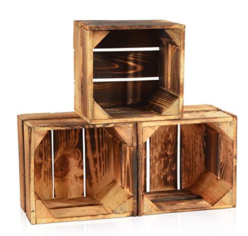 CHICCIE 3 Set Geflammte Obstkisten - 22cm x 20cm Holzkisten Weinkisten Holz Kisten Apfelkisten Obstkiste Gebrannt