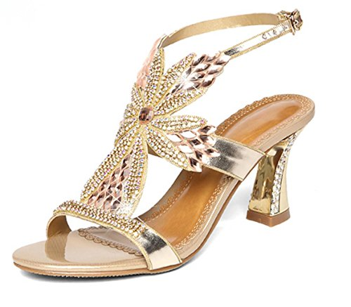 DZW Womens Slip On Diamond Bridal Stiletto Low Mid Heels Sandales MariageRendez-vous différent