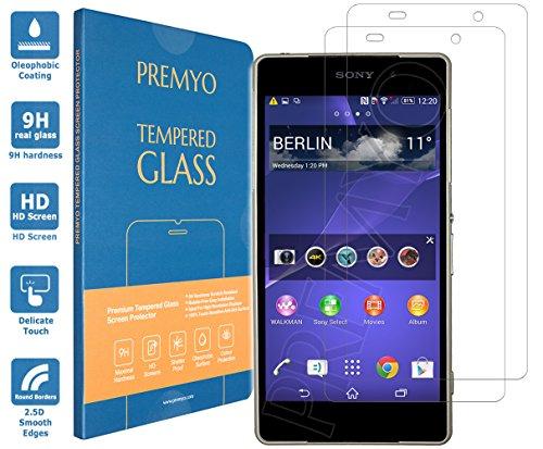 PREMYO 2 Stück Panzerglas Schutzglas Bildschirmschutzfolie Folie kompatibel für Sony Xperia Z2 Blasenfrei HD-Klar 9H 2,5D Gegen Kratzer Fingerabdrücke