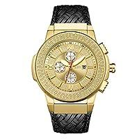 ساعة جيه بي دبليو بسوار جلدي اسود ومينا ذهبي كرونوغراف للرجال [Jb-6101l-j]