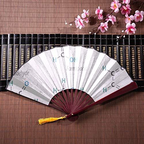 ns Faltfächer Chemie Wissenschaft Formel Mit Bambusrahmen Quaste Anhänger Und Stoffbeutel Hände Fans Für Frauen Faltfächer Wanddekor Bambus Chinesischen Fan ()
