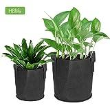 hblife Pflanzentaschen mit Griff Schwarz Pflanzsack 31L aus Vliesstoff für