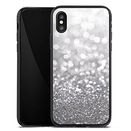 Apple iPhone 6s Tasche Hülle Flip Case Silber Glitzer Glitter Silikon Case schwarz
