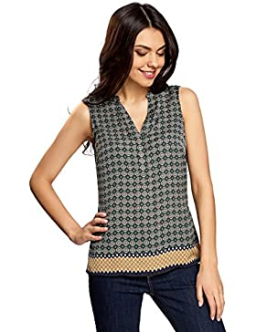 oodji Collection Mujer Top Estampado con Cuello Pico