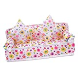 Mini Flower Sofa Couch +2 Cushions For Doll House Accessories by Phoenix B2C UK