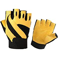 Lyq&st Leather Gloves Climbing Half Finger Gloves Warm Skiing Gloves Outdoor Men's Exercise Non-slip Fitness Gloves & Cycling Gloves, Yellow