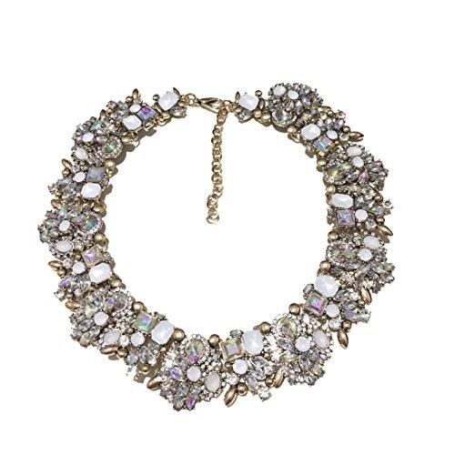 Fancy Love - Collana girocollo da donna con pietre colorate e strass - lussuosa, alla moda, elegante, stile retrò, vintage - affascinante ed esclusiva e Lega, colore: White, cod. NF007-White