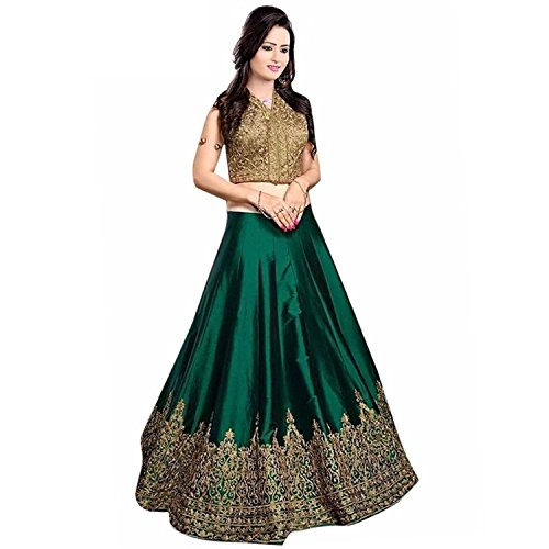 Vastra Fashion Women's Banglory Silk Embroidered Semi-Stitched green color lehenga Choli
