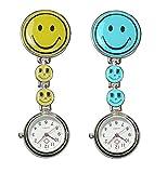 COLJOY Krankenschwester Uhr Pulsuhr Nurse Watch Kitteluhr Taschenuhr Trend Uhren Top Qualität Schwesternuhr Smiley mit Clip Krankenschwesteruhr Kitteluhr Neu! Neu! 1pc Gelb + 1pc Blau