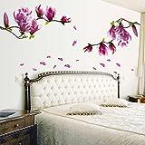 Saingace Wandaufkleber Wandtattoo Wandsticker,Magnolien-Blumen-Haus-Haus-Raum-Wand-Aufkleber-Wand-Dekor-Abziehbild entfernbares neues