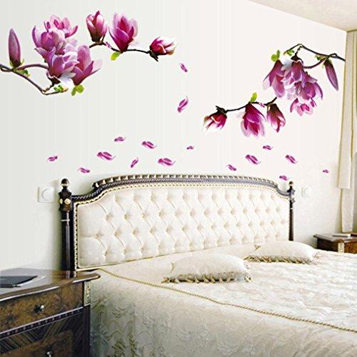 Saingace® Wandaufkleber Wandtattoo Wandsticker,Magnolien-Blumen-Haus-Haus-Raum-Wand-Aufkleber-Wand-Dekor-Abziehbild entfernbares neues