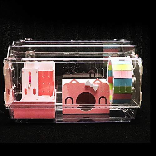 NJSD Acryl Hamsterkäfig, 47 * 31 * 31Cm Großes Design, EIN Großes Tablett Für Einfache Reinigung, DIY-Design, Kann Unbegrenzt Gestapelt Werden, Geeignet Für Kleine Haustiere Wie Hamster, Igel
