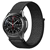 Fintie Armband für Galaxy Watch 46mm / Gear S3 Frontier/Gear S3 Classic - Premium Nylon Atmungsaktive Uhrenarmband Ersatzband mit Verstellbarem Verschluss [ klein ], Schwarz