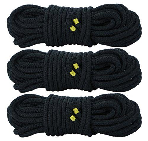 3x 10m Bondageseil Bondage Seil 3x 10 Meter Fesselseil schwarz rot weiß (3x 10m Schwarz)