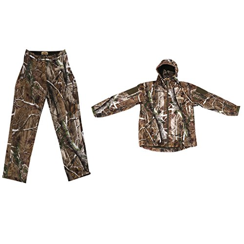 Gazechimp Wasserdicht Jagd Anzug Tarnanzug Woodland Camouflage Anzüge Taktische Kapuzenjacke und Hose, Größen Wählbar - Camouflage, L (Camouflage-anzug Für Die Jagd)
