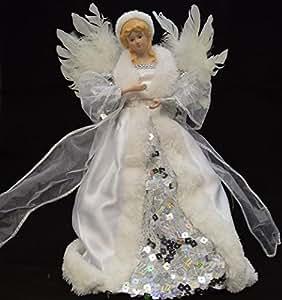 F e ange sommet d 39 arbre de no l 30 cm argent blanc d coration maison cuisine maison - Ange sapin noel ...