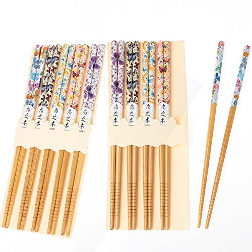 10 pares palillos japoneses palillos bambú reutilizables