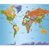 murando - Fototapete 200x140 cm - Vlies Tapete - Moderne Wanddeko - Design Tapete - Wandtapete - Wand Dekoration - Weltkarte Karte Kontinente k-A-0095-a-a