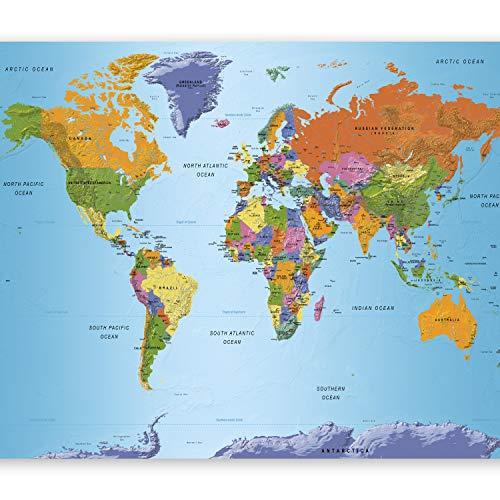 murando Papier peint intissé 400x250 cm Décoration Murale XXL Poster Tableaux Muraux Tapisserie Photo Trompe l'oeil Carte du Monde Continent k-A-0095-a-a