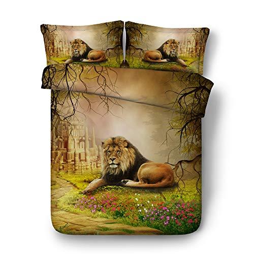CHAOSE Löwe und Tiger Bettwäsche Set,Superweiche Polyester-Baumwolle,3D Digital HD Malerei 3-teilig (1 Bettbezug + 2 Kissenbezüge) (König der Löwen, King Size(220x240cm+2/70x50cm 2M Breites Bett)) (Seiden-satin-bettwäsche König)