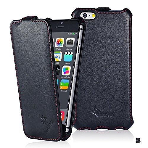 LEICKE Manna UltraSlim Hülle für iPhone 6s mit 4.7 Zoll | Flip Case aus echtem Leder Astana | Schwarz mit farblich abgesetzter Naht -