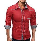 GreatestPAK Einfarbig Männer Shirt Male Casual Langarmshirts