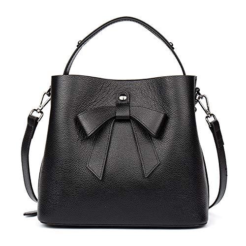 Sbl borsetta da donna primo strato in pelle bovina, borsa a tracolla con fiocco borsa a tracolla messenger bag,nero,a
