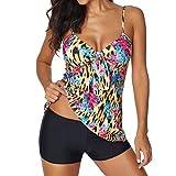 MORETIME Costumi da Bagno, Costumi brasiliani Donne Set Tankini con Pantaloncini Signore Bikini Set Swimwear Push-Up Reggiseno Imbottito