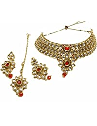 Hilore Rajwada Polki Golden & Red Stone Choker Style Semi Bridal Complete Jewellery Set For Womens & Girls