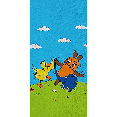 Großes Badetuch Die Sendung mit der Maus - Motiv Freunde - 75 x 150 cm 100% Baumwolle Strandlaken Badelaken Handtuch Strandtuch Saunatuch Maus + kleiner blauer Elefant + Ente passend zur Bettwäsche (Die Kissen Für Sauna)