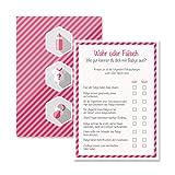 Babyparty Baby Shower Spiel-Set 8 Stück Wahr oder Falsch mädchen rosa pink Partyspiel Quiz Spiel Deko Party Karte Geschenk Spielkarte Artikel von Mia-Félice Decorations