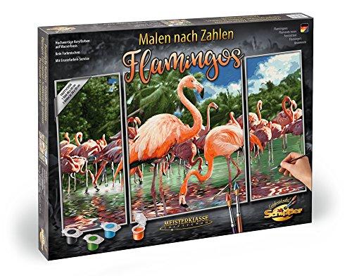 Schipper 609260782 Malen Nach Zahlen, Flamingos, Triptychon, 50 x 80 cm
