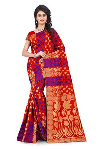 Woman style Woman's Banarasi Silk Red Sarees with Poly Cotton blouse
