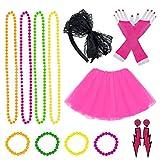 Jerbro - Costume da Donna Anni '80, con tutù, Orecchini, Fascia a Rete, Guanti, Collana, Perline, Accessori per Feste
