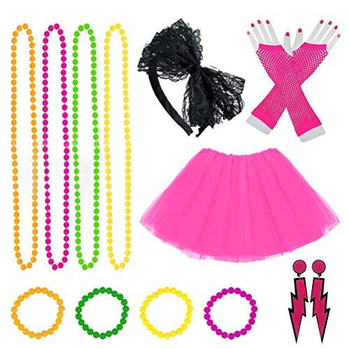 80s Jahre Kostüme für Frauen Mädchen Erwachsene, Frauen Kleider Partyzubehör Neon mit Tutu Röcke Blitz Ohrringe Stirnband Fischnetz Handschuhe Halskette Perlen Partykostüm Set (80er Rock Outfit)