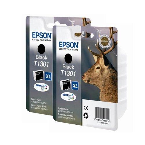 Epson T1301 - Pack 2 x cartuchos de tinta para impresoras Epson D78 Stylus, color negro