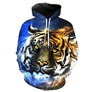 ACVIP Men's Tiger Lion Print Long Sleeve Hoodies Hooded Sweatshirt (XXXL, 6 Tiger)