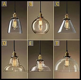 GENERIC B : AC100-240V Lustre Classic Vintage Light Cafe Creative Glass Pendant Bar Lamp Clothing Store Fixtures Hanging Pendant Lights