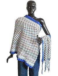 DollsofIndia Check Design Woolen Stole With Dark Blue Border - 25 X 74 Inches (OP47) - White, Blue