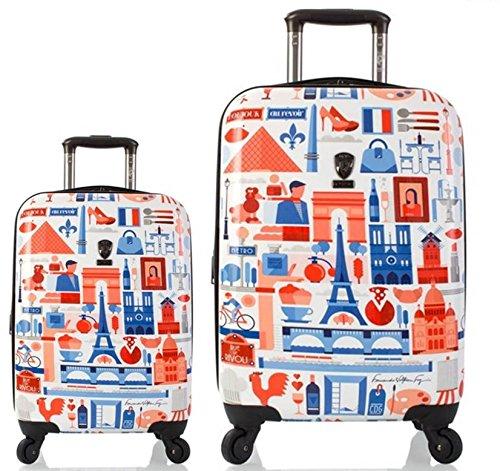 Kofferset, Gepäckset, Reisegepäck by Heys - Premium Designer Hartschalen Kofferset 2 TLG. - Künstler Fernando Cities Koffer mit 4 Rollen Medium + Koffer mit...