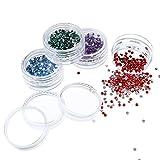 12 Colori Unghie Arte Decorazioni Unghie Pietre Strass Glitter Adesivi con 12 Pezzi Piccolo Contenitore Vasi, 6000 Pezzi