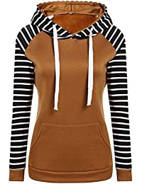 56d5da87815a YuanDian Femme Automne Hiver Casual Rayure Manches Longues Hooded  Sweatshirt Sweat A Capuche Chaud Long Pull