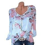 Hevoiok Spätester Sommer Herbst T-Shirt Damen Mode Sexy Freizeit Blumenmuster Oberteile Chiffon Hemdbluse locker Langarm Bluse Tops mit Knopf große größen S-5XL (Blau, XL)
